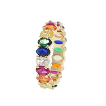 Oval cz eternity band engagement ring colorful cubic zirconia Gold color trendy fashion women stacking diy finger rings