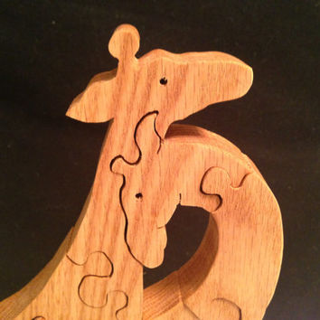 Children's Wooden Giraffe Family Puzzle - Waldorf Inspired - Interlocking Puzzle Pieces- Freestanding - Oak - Scroll sawed by hand