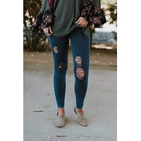 Vintage Destroyed Jeggings - Denim