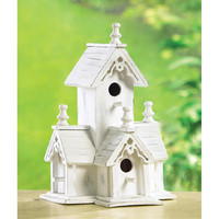 Victorian Heirloom Eucalyptus Wood Birdhouse with Gingerbread Trim