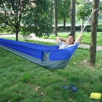 Enjoydeal Portable Parachute Nylon Fabric Travel Camping Hammock (Blue&Grey)