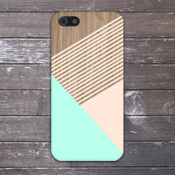 Mint x Champagne Pink Striped Wood Design Case for iPhone 6 6 Plus iPhone 5 5s 5c iPhone 4 4s Samsung Galaxy s5 s4 & s3 and Note 4 3 2