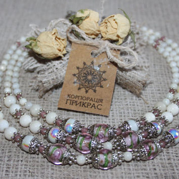 Delicate white necklace Bohemian white rose beaded necklace Venetian glass  necklace Wedding brides jewelry White ethnic jewelry One in kind