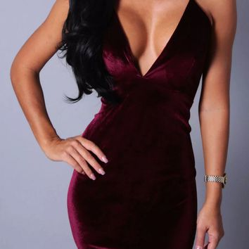 Homecoming Dress, Baby Wine Velvet Effect Mini Dress, Deep V-Neck Party Dress