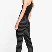 Petite Kate Stripe Tapered Trouser | Boohoo