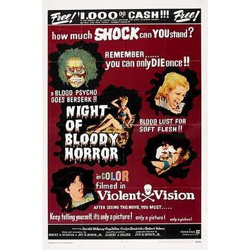 Night Of Bloody Horror Movie poster Metal Sign Wall Art 8in x 12in