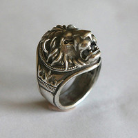 lion head ring. Silver 925 by yurikhromchenko on Etsy