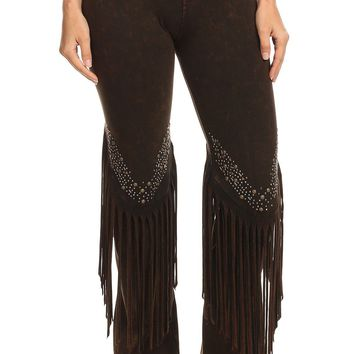 Stone Design Fringe Detail Yoga Pants