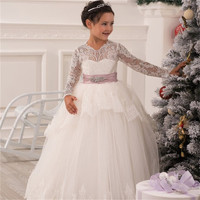 Long Ivory Lace Flower Girl Communion Dresses Pageant Dresses For Little Girls Prom Dresses Kids Graduation Dresses 160527021