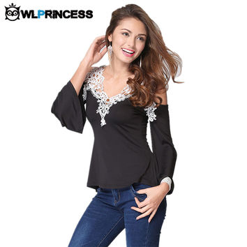 Owlprincess Newest Fall Women Blouses Lace Sexy Strapless Hollow Out Blusas V-Neck Long Sleeve Tops Elegant Shirt Plus Size 5XL