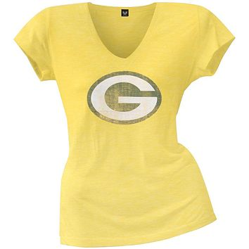 Green Bay Packers - Scrum Logo Premium Juniors V-Neck T-Shirt