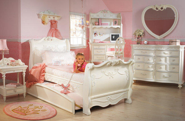 Disney princess girls 8 piece twin sleigh from funiture1inc on for Disney girl bedroom furniture
