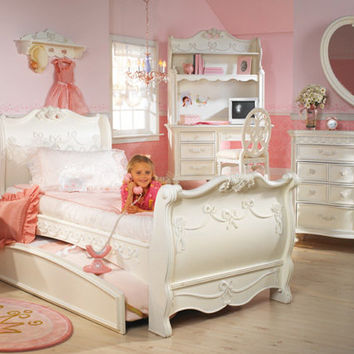 Disney Princess Girls 8 Piece Twin Sleigh Bed Bedroom Set ! Princess Collection