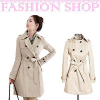 Womens Double Breasted Belted Coat Slim Rain Trench Coat Casual Jacket Outwear