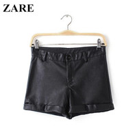 Autumn Women's Fashion High Rise Pants With Pocket PU Leather Shorts [6034462401]