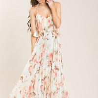 Heather White Floral Pleated Maxi Dress