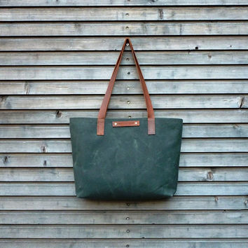 Waxed canvas tote bag/ carry all with  leather handles / Graduation