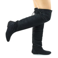 Tammy Black Faux Suede by Forever, Foldable Knee High Flat Boots w Rear Lace Tie