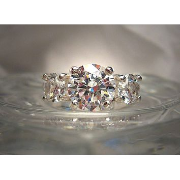 A Handmade 4TCW Round Brilliant Cut Russian Lab Diamond Three Stone Journey Ring