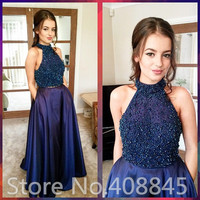 Elegant Navy Blue Long Two Piece Prom Dresses 2016 vestido de baile Sexy Halter Backless Formal Evening Gowns Graduation Dress