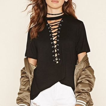 Mock Neck Lace-Up Top