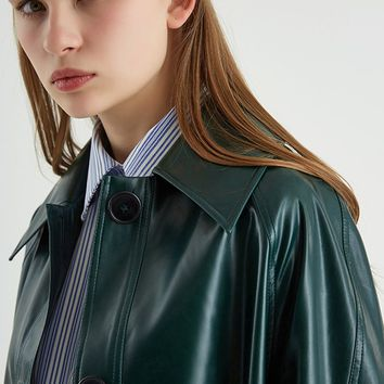 Peacock Green PU Leather Trench Coat