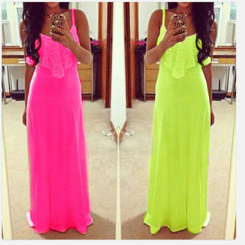 hot-selling 2016 women long dresses neon color spaghetti strap lace summer Maxi Dress vest dress