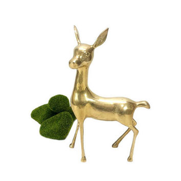"Brass Deer Figurine 10"" Vintage Large Tall Fawn Mid Century Gold Smooth Statue Woodland Animal Collectible MCM Home Wedding Decor Bambi Doe"