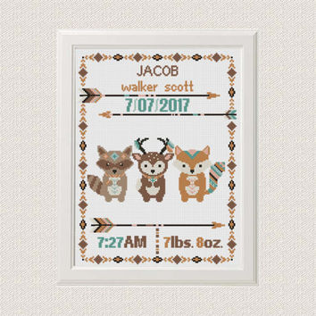 Cross stitch Birth announcement Fox deer raccoon cross stitch pattern baby sampler new baby boy birthday gift  aztec tribal nursery pattern