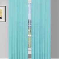 Window Elements Sheer Elegance Grommet 108 x 84  in. Curtain Panel Pair, Light Blue