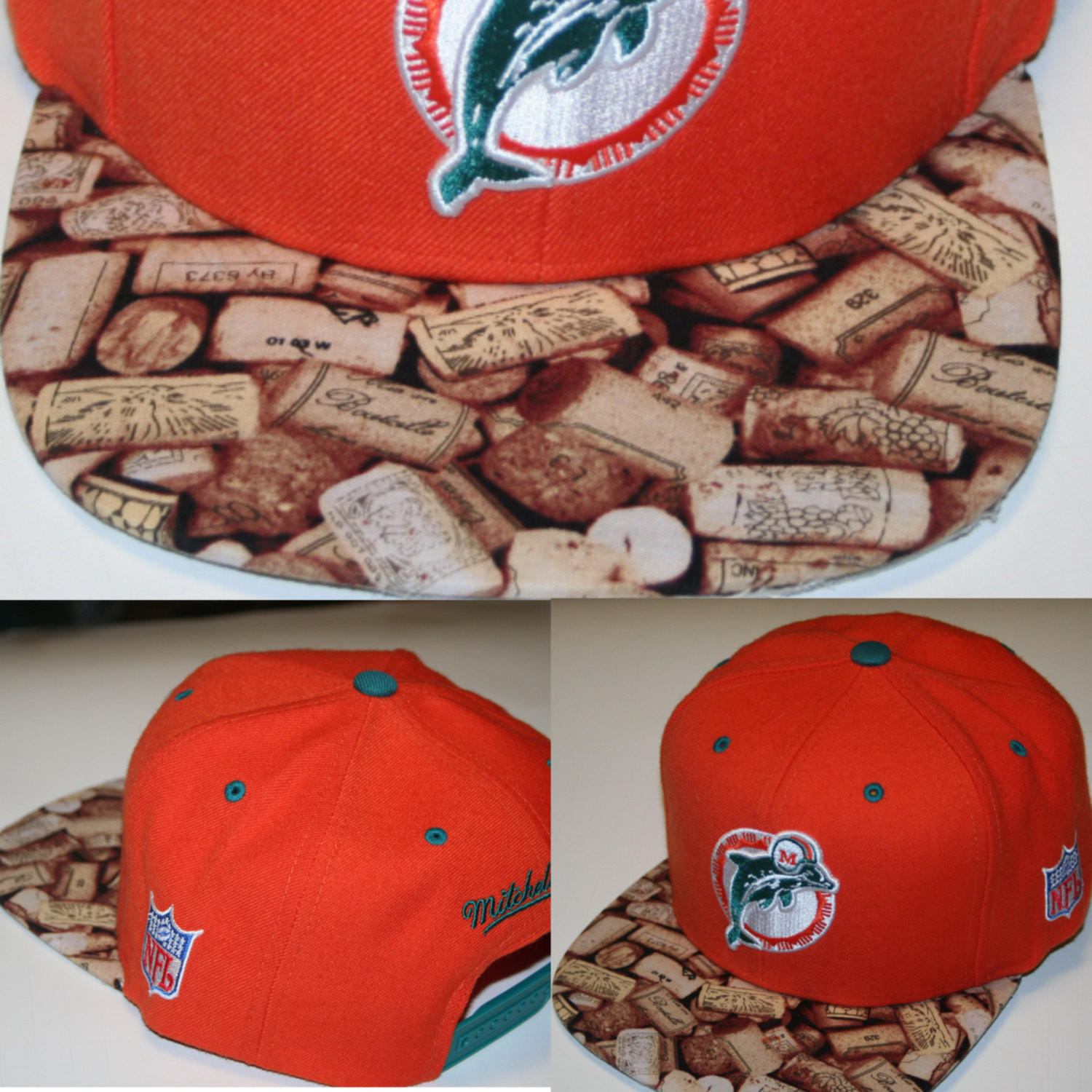 8459b5c44 Miami Dolphins NFL Custom Snapback Hat Cap Mitchell and Ness Brim lebron  cork