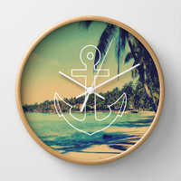 Vintage Summer Anchor Wall Clock by RexLambo