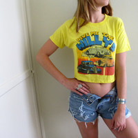 Vintage Trucker Car Racing Crop Top Cropped Womens Shirt Tee