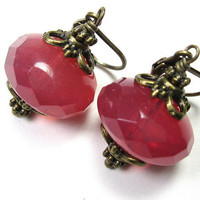 Vintage Style Jewelry, Czech Glass Earrings, Pink Grapefruit, Pink Sorbet, For Her, Romantic Jewelry, Womens Accessories, Watermelon