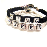 King Queen Bracelets for couples Black and White Hemp