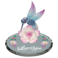 """Glass Baron Hummingbird with Pink Flower """"Love You"""""""