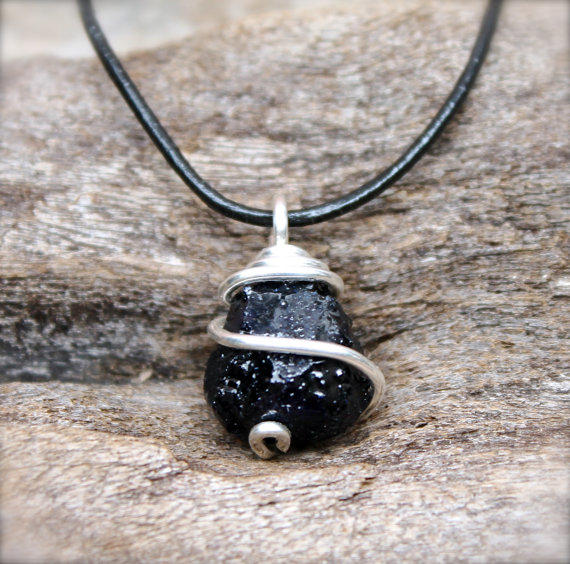 Rough Sapphire Necklace for Men Dark from Mermaid Tears