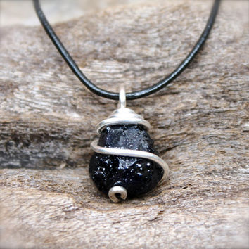 Rough Sapphire Necklace for Men - Dark from Mermaid Tears ...Unpolished Sapphire Necklace