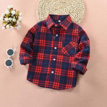 Spring & Autumn Boys Shirt Plaid Cotton Kids Fashion Shirts Long Sleeve Children Casual Clothes