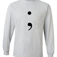 """13 Reasons Why """"Semicolon"""" Unisex Adult Long Sleeved T-Shirt"""