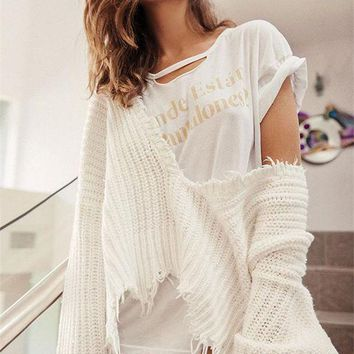 DCCKH3L Fashion Personality Tassel Deep V-Neck Loose Long Sleeve Solid Color Sweater Women Short Knitwear Tops