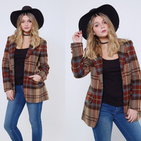 Vintage 70s PLAID Blazer Earth Tone WOOL Jacket Fitted Blazer