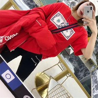 """Supreme"" Women Fashion Personality Dollar Pattern Print Short Sleeve Casual T-shirt Top Tee"