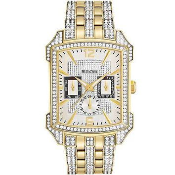 Bulova Mens Crystal Date Watch - Gold-Tone - Day - Date - 24 Hour Subdial