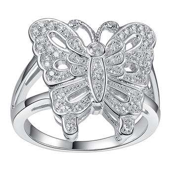 Sterling Silver Butterfly Ring W. Cubic Zirconia
