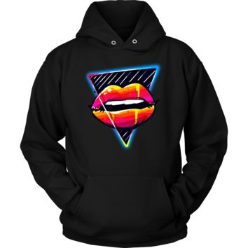 Hot Pink Lips Kiss Me Lipstick Party Hoodie