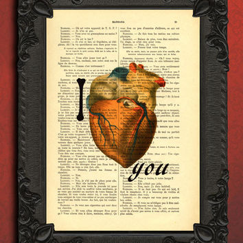 i love you art print mixed media, anatomical heart dictionary print, valentines day gift, love quote, dictionary art