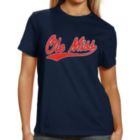 Mississippi Rebels Ladies Basic Melody Clean T-Shirt - Navy Blue