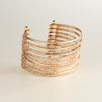 Gold Multi-Row Etched Cuff Bracelet - World Market