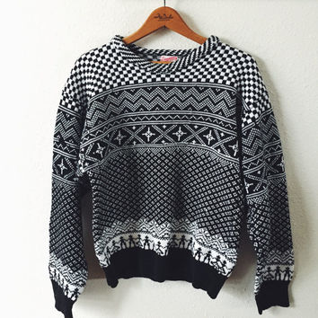 Vintage, Hand Knit, Black, White, Ski, Sweater, Made By Grandma, Unisex Sweater, One of a Kind, Knit Jumper, Graphic Pattern